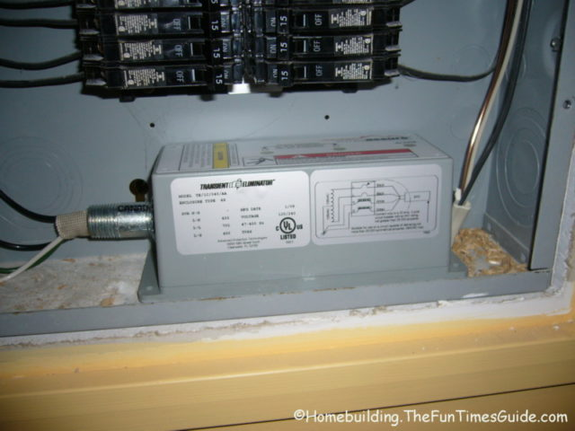 Surgeassure Whole House Surge Protector on circuit breaker panel surge protector