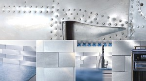 Aluminum Tiles Made From Aircraft Cladding Create A Unique & Sleek Kitchen Backsplash