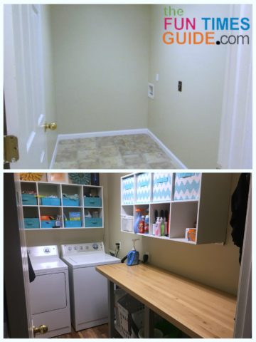 Before (top) and After (bottom) our DIY laundry room makeover.