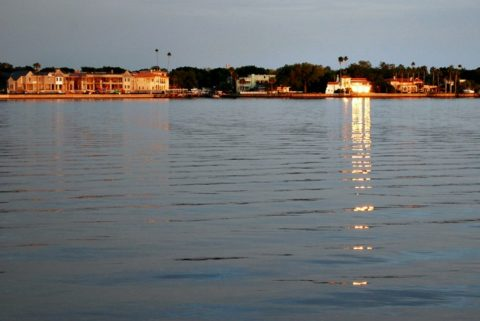 On the left, the Derek Jeter mansion next to other homes on Davis Islands, Florida.