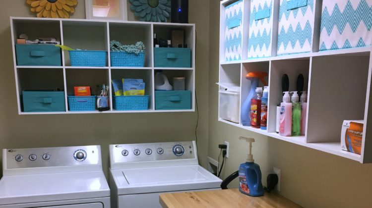 Before & After Photos Of My DIY Laundry Room Makeover With Lots Of Added Storage Space And Organization Cubbies