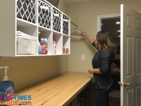 I chose to use cube organizers instead of traditional laundry room storage cabinets.