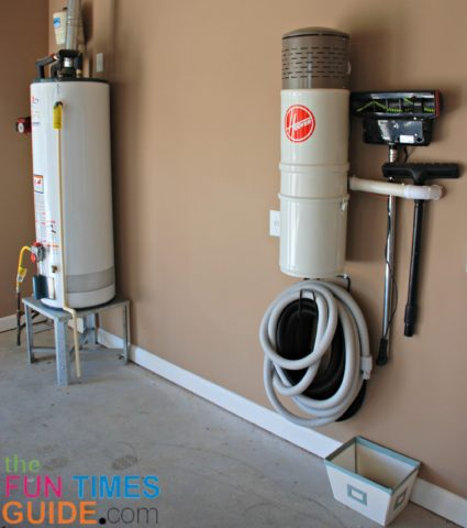 A home central vacuum system installed in the garage.