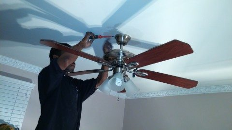 home improvement project installing ceiling fan