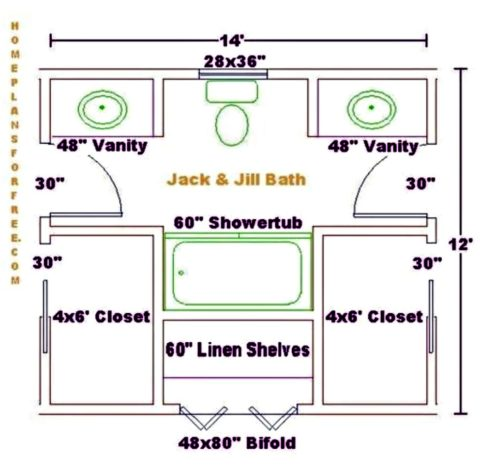 An example of a 8' x 13' Jack and Jill bathroom floor plan courtesy of homeplansforfree.com