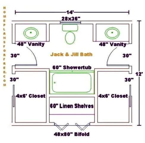 An Example Of A 8 X 13 Jack And Jill Bathroom Floor Plan Courtesy