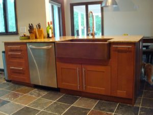 large kitchen apron front sink