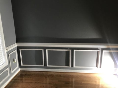 We chose a raised wainscoting style for our dining room.
