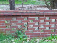 close up of brick fence