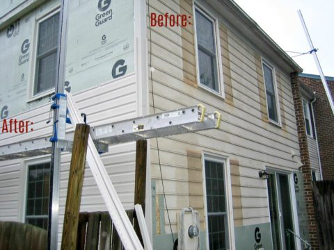 A closeup of the old house siding (right) and the new (left).