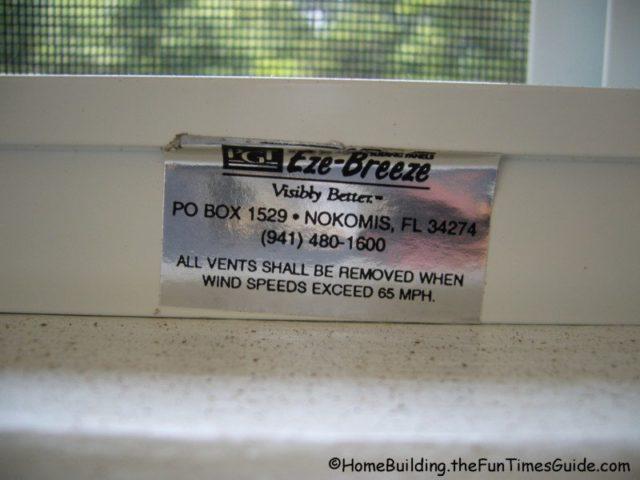 Eze Breeze vinyl porch windows wind speed sticker
