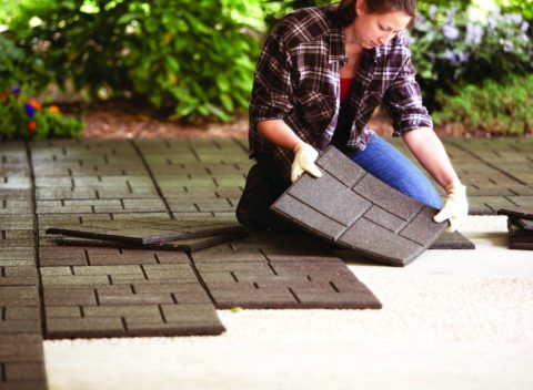 Using an envirotile provides a great looking and less expensive alternative to brick or traditional pavers