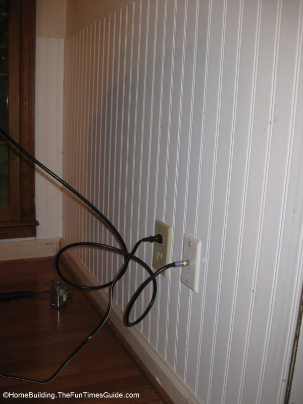 JPG beadboard-with-outlet-boxes-cut-out.JPG. How High Should The Beadboard  Paneling ... - How To Install Beadboard Paneling The Homebuilding/Remodel Guide