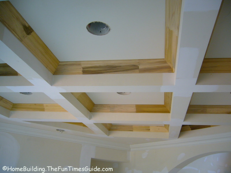 Considering coffered ceilings in your home here 39 s a for Wood trim ceiling ideas