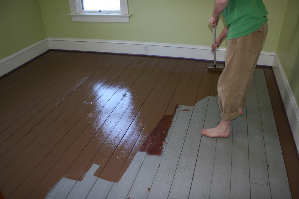 Painted wood floors will liven up your home how to diy for Can you paint over linoleum floors