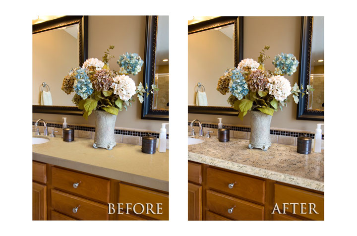 Painting countertops to look like granite really a for Painting kitchen countertops before and after