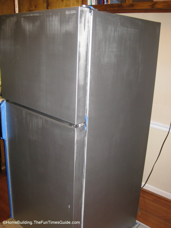refrigerator-after-first-coat-of-stainless-steel-paint.