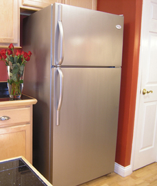 the liquid stainless steel paint application makes the fridge look brand new