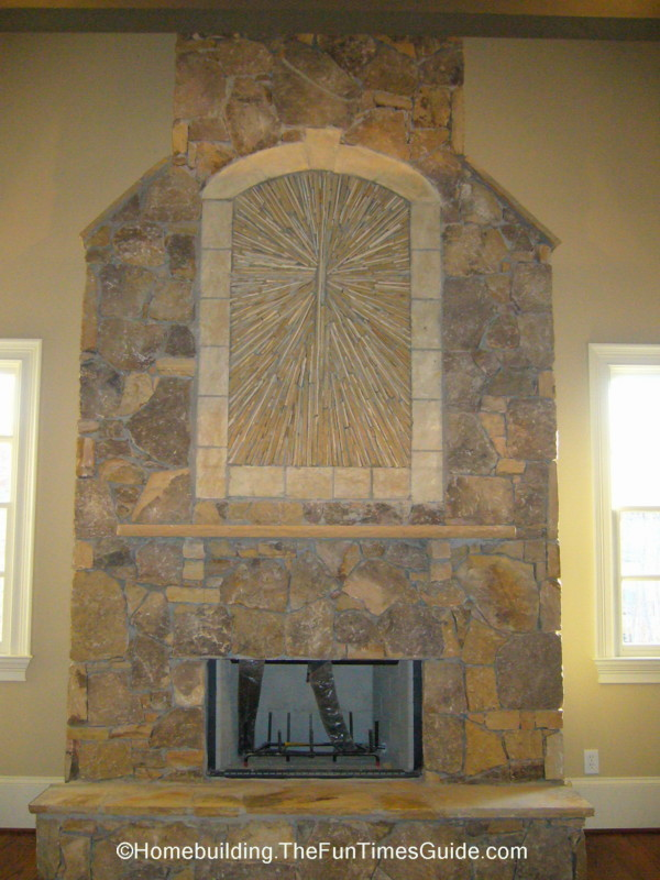 This Stone Sunburst Fireplace