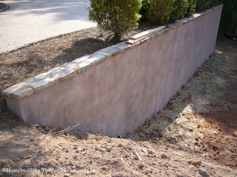 How to improve the look of a concrete retaining wall fun for Concrete block stucco