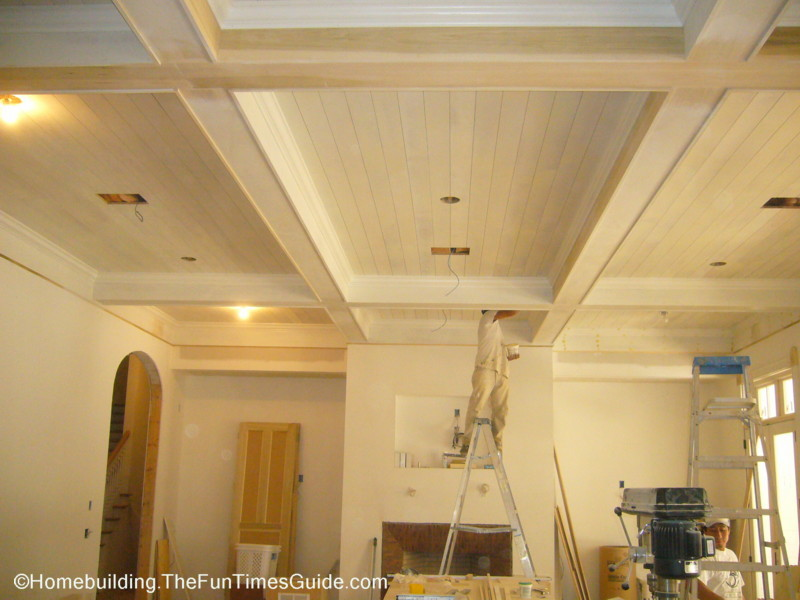 Huge coffered ceiling in this great room is much larger than it looks ...